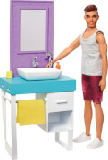 Mattel FYK53 Barbie Ken Puppe & Möbel Bathroom
